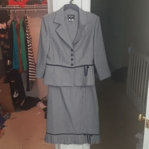 Like new blue and white skirt suit set